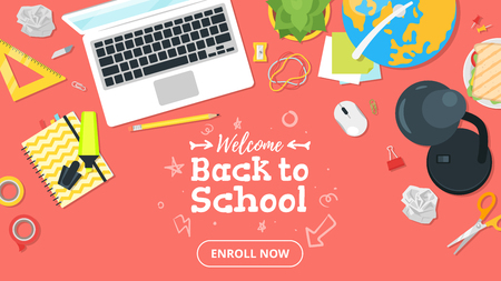 School workplace. Overhead desk top view. Vector illustration. Stationery and various education and studying things around. Back to school concept. Living coral background. Illustration