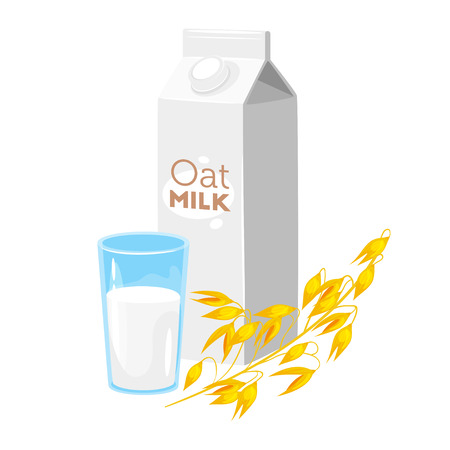 Vegetarian paper pack of oat milk with glass and brunch of cereal. Vector illustration isolated on white background.