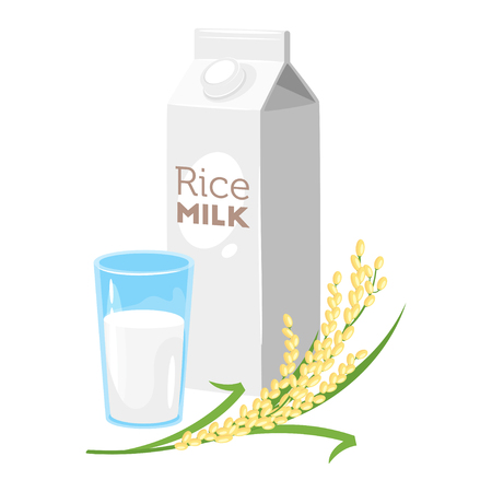 Vegetarian paper pack of rice milk with glass and brunch of cereal. Vector illustration isolated on white background.