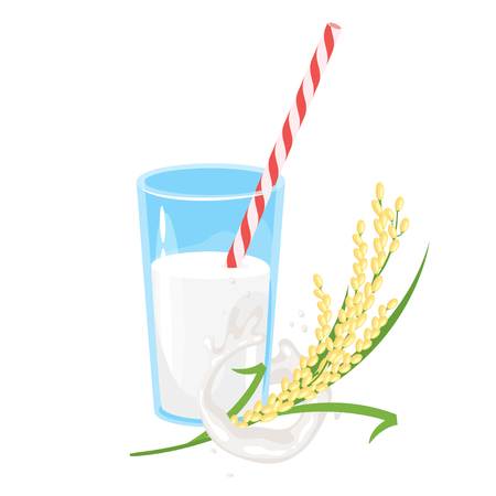 Vegetarian glass of rice milk with brunch of cereal. Vector illustration isolated on white background. Vegan organic healthy beverage. Natural drink.
