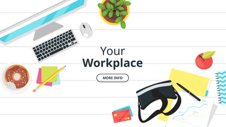 Business workplace. Overhead top view. Vector illustration. Office stationery and various things around. White background. Ilustrace