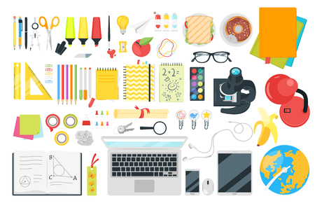 Stationery and various education and studying things top view. Vector illustration.
