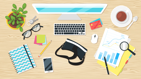 Business workplace. Overhead top view. Vector illustration. Office stationery and various things around. Wooden background.