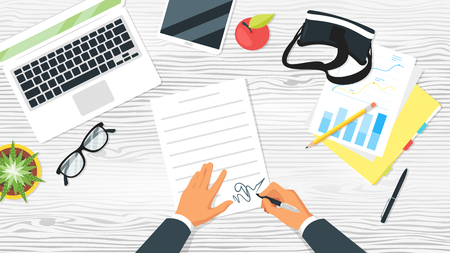 Business workplace. Businessman hands. Overhead top view. Vector illustration. Office stationery and various things around. White wooden background.