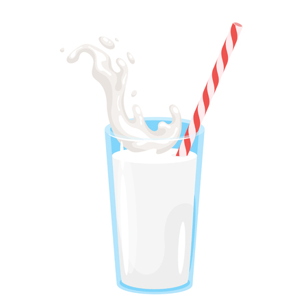 Glass of milk with drinking striped straw. Vector illustration isolated on white background. Vegan organic healthy beverage. Natural drink. Иллюстрация
