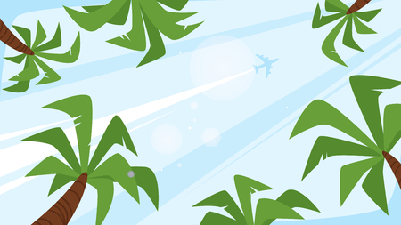 Vector cartoon style background of sky with sun beams and flying airplane. Good sunny day with palm trees. Bottom view. Vector illustration. Illustration