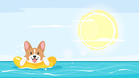 Cartoon style   of sea with happy corgi pet dog floating in a inflatable ring.
