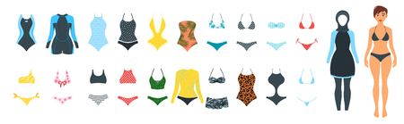 Set of female swimsuit icons. Different types of colorful beachwear silhouettes isolated on white