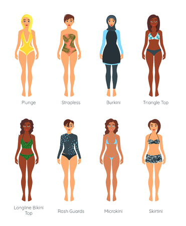 Set of female swimsuit on adult beautiful multinational woman models of different races and skin color.