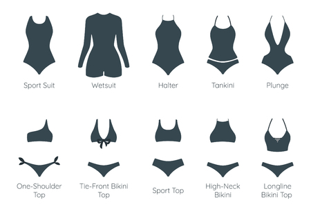 Set of female glamour swimsuit icons. Different types of beachwear silhouettes isolated on white Stock Illustratie