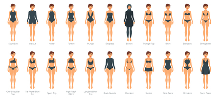 Set of female swimsuit on adult Caucasian woman models. Illustration