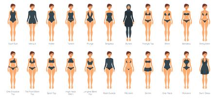 Set of female swimsuit on adult Caucasian woman models. Illustration