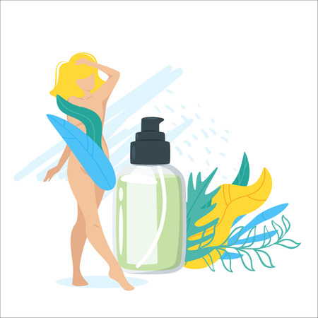Composition with  beautiful blonde woman, cosmetic care product in bottle and green leaves decorations.