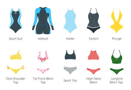 Set of female colorful swimsuit icons. Different types of beautiful beachwear silhouettes isolated on white