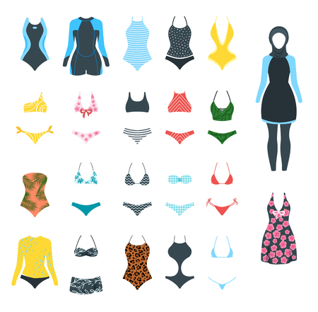 Collection of female colorful swimsuit icons. Different types of beachwear silhouettes isolated on white
