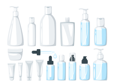 Cartoon set of organic natural cosmetic products in bottles. Items for base daily care for healthy skin - cleansing, toner, cream. Vector packaging illustration isolated on white background.