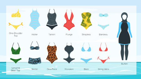 Set of female swimsuit icons. Different types of beachwear silhouettes isolated on seascape Stock Illustratie