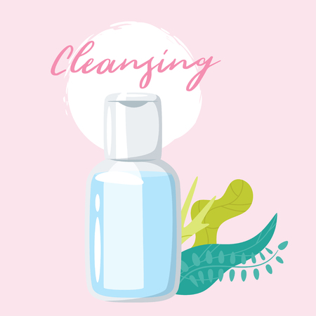 Cleansing cosmetic care product in bottle and green leaves decorations. Vector illustrations isolated on pink background.