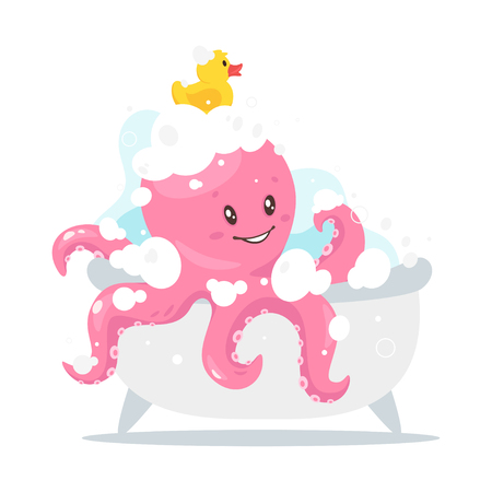 Octopus cartoon style baby character taking bath with rubber yellow duck in the bathroom.