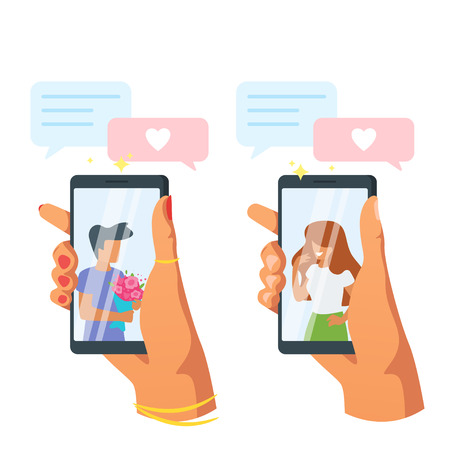 Dating app and relationship concept. Hands holding smartphone. Faceless characters in phone screen. Love messages application. Vector illustration isolated on white background. Vetores