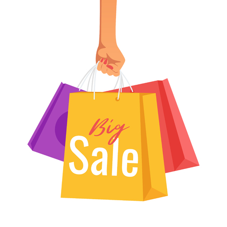 Hand holding paper sale bags isolated on white background. Shopping concept. Vector illustration.