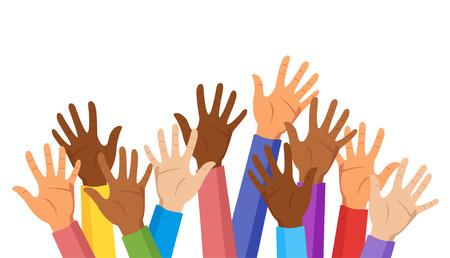 Mains levées de différentes couleurs de peau de race isolées sur fond blanc. Des vêtements colorés. Notion de diversité. Illustration vectorielle.