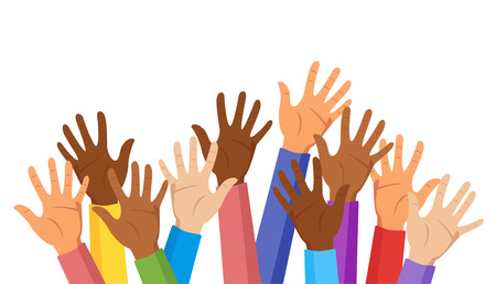 Raised hands of different race skin color isolated on white background. Colorful clothes. Diversity concept. Vector illustration.