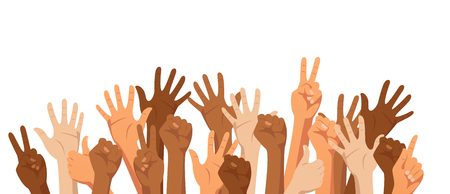 Raised hands of different race skin color isolated on white background. Diversity concept. Vector illustration.  イラスト・ベクター素材