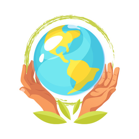 Ecological concept. Hands holding Earth icon.