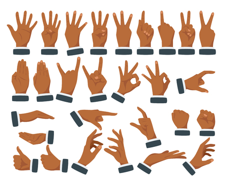 Vector flat style set of various businessman hands gestures. Afro American dark skin color. Different signs and emotions. Isolated on white background. Illustration