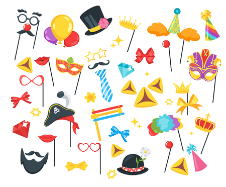 Purim Jewish holiday set of design decoration elements and props. Vector illustration isolated on white background.