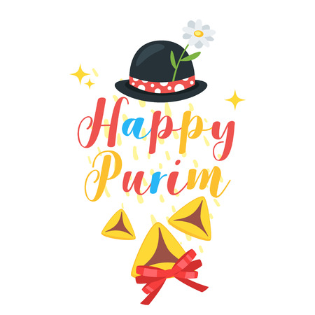 Happy Purim celebration layout template for card with funny hat and traditional Hamantashen.