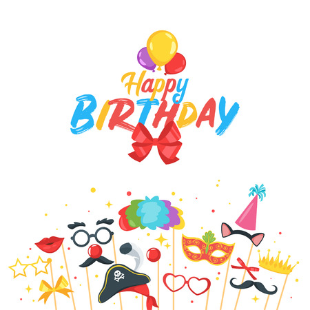 Birthday party card design template with photo prop and party decorations. Vector illustration.
