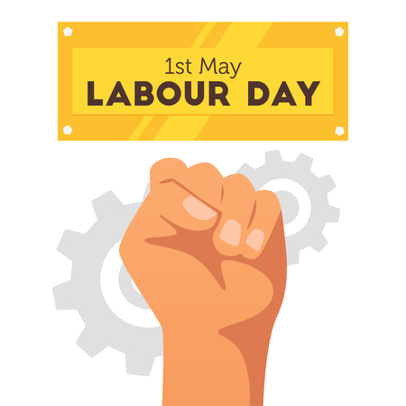 Labour day design template with man clenched fist and gears