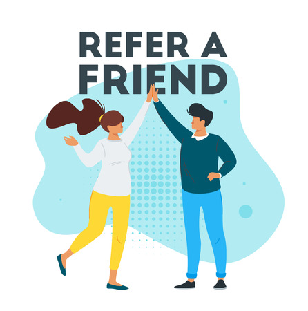 Refer a friend marketing design with  man and woman silhouette giving a high five. Advertising concept. Illustration