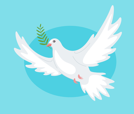 Beautiful peace dove holding olive branch in the beak on blue 向量圖像