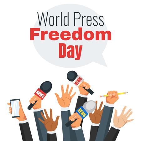 Design della giornata mondiale della libertà di stampa con le mani che tengono i microfoni delle notizie. Vettoriali