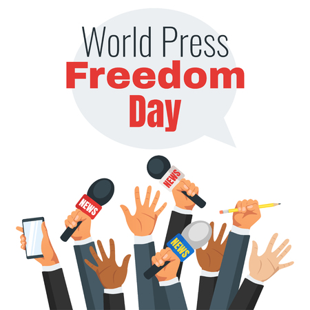 World press freedom day design with hands holding news microphones.