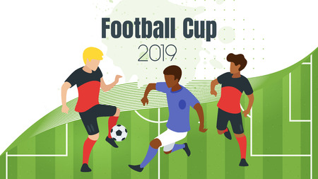 Football game banner template with faceless man silhouettes playing soccer. Illustration
