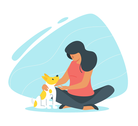 Adopt a pet concept with woman and her dog.