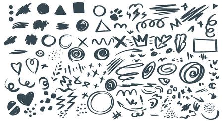 Abstract hand drawn symbols set.
