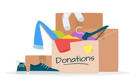 Clothes for donation flat  illustration. Garage sale, flea market, thrift shop goods.