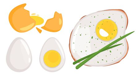 Raw, boiled and fried chicken egg set.