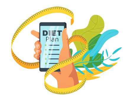 Weight loss diet plan flat vector illustration. Healthy eating, lifestyle. Slimming, calories counting recipes for men poster. Male hand holding smartphone and measure tape web banner template Ilustração