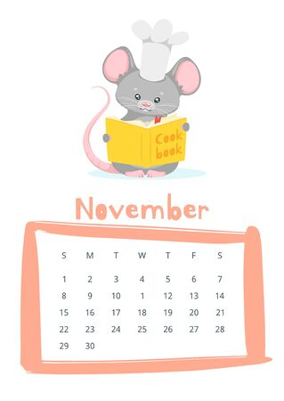 November calendar flat vector template. Children planner for autumn 2020. Basic grid colorful design with mascot. Organizer with text and numbers on white backdrop. Cute mouse cooking illustration