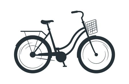 Utility bicycle silhouette vector illustration. Eco friendly vehicle, common bike black monochrome icon. City travel attribute, cycling hobby symbol. Healthy lifestyle, transport with basket