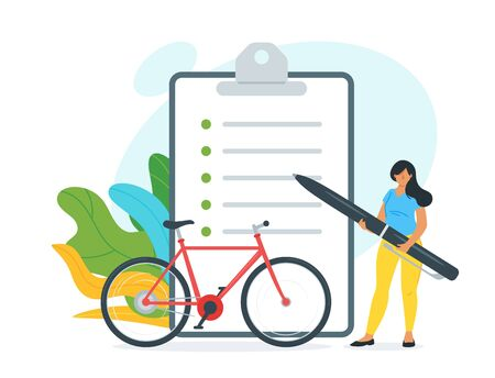 Bike rent customer agreement illustration. Young woman holding big pen cartoon character. City transport leasing service client signing contract. Bicycle purchase paperwork, lady buying cycle