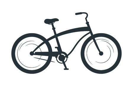 Cruiser bicycle silhouette vector illustration. Eco friendly vehicle, sport bike black monochrome icon. City travel transport, cycling hobby symbol. Healthy lifestyle, physical training attribute Archivio Fotografico - 128753104