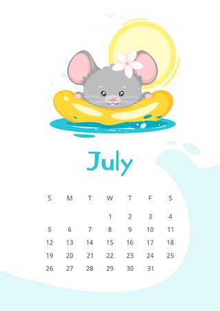 July calendar flat vector template. Children planner for summer 2020. Basic grid design with mascot. Organizer with text and numbers on white backdrop. Adorable mouse swimming in sea illustration Illusztráció