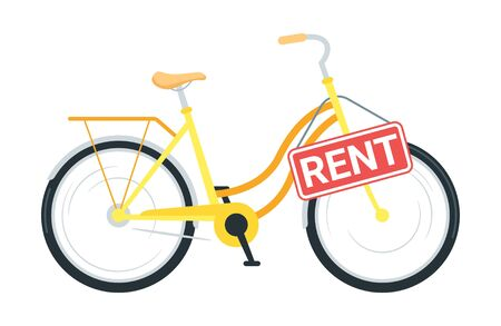 Bicycle rental service vector illustration. Modern business, public bike sharing. Cruiser cycle with sign board. City travel, urban transportation. Borrowing eco friendly vehicle for leisure, pastime Imagens - 128753098